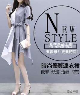 2018大碼女裝夏裝連衣裙新款 胖mm冷淡風修身顯瘦不規則拼接洋裝