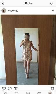 Rose gold sequin slip dress