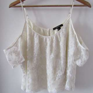 White Lace Open-Shoulder Top