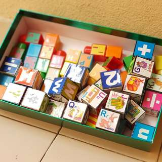 Various alphabets educational blocks