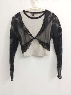 H&M Sheer Black Crop Cover up