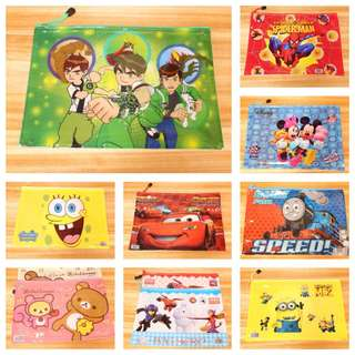 PO Kids A4 size file brand new ideal for goodies bag gift (design - frozen/hk/spiderman/McQueen/tsum/Mickey /pony and etc) bulk purchase pm me