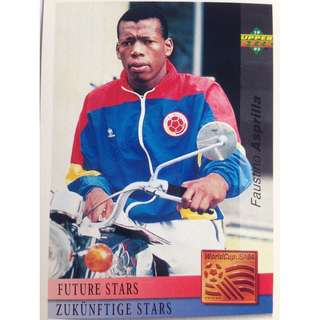 Faustino Asprilla (Colombia) - Soccer Football Card #135 (Future Stars) - 1993 Upper Deck World Cup USA '94 Preview Contenders