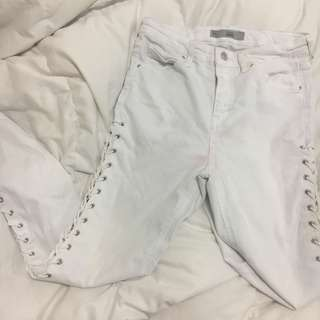 WHITE LACE UP JAMIE JEANS TOPSHOP
