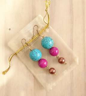 Three Beaded Dangling earrings (turquoise fuchsia bronze)