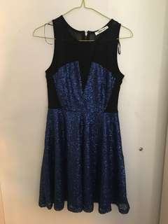 Blue Sequin Mesh Dress