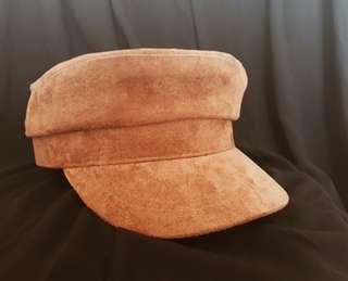 Brown Velvet Newsboy Hat