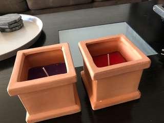 2x Terracotta Citronella Candles