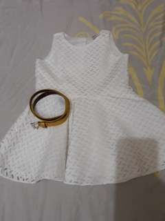 White Dress with gold belt 12mos