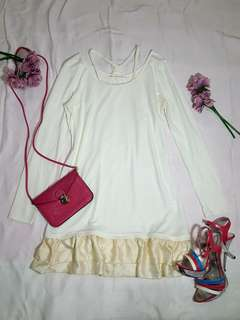 Ruffle skirt long sleeve dress