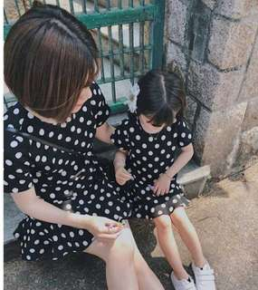 <Mother Daughter Outfits Collection> *Brand New* Black Polka Dot Mother Daughter Dresses
