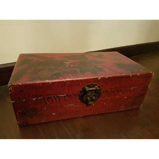 Vintage Rustic Wooden Chinese Chess Box