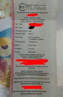 Tiket Bas Balik Raya 12 Jun Nilai ke Kota Bharu