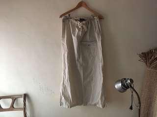🚚 POLO Ralph Lauren 米色卡其長裙為開叉口袋綁帶高品質