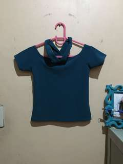 Blue-green crop top