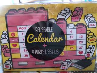 Reusable calendar + 4 ports USB hub