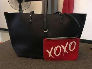 Victoria's Secret Black Tote Bag with free VS Pouch