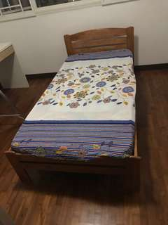 Wooden single bed (bed frame)
