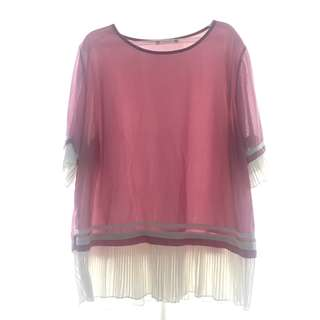 Orchid colored top with white pleats (big size)
