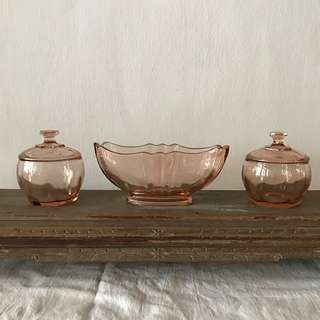 2 Vintage Pink Glass containers with lids and 1 oval footed bowl