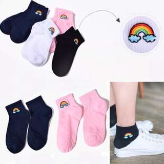korean iconic socks ulzzang rainbow style mid cut
