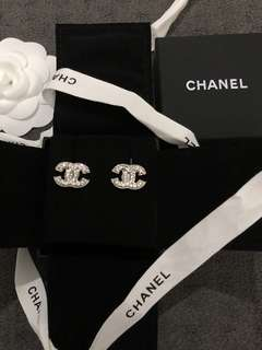 NEW Chanel Silver Classic CC Crystal Rhinestone Earrings! AUTHENTIC!