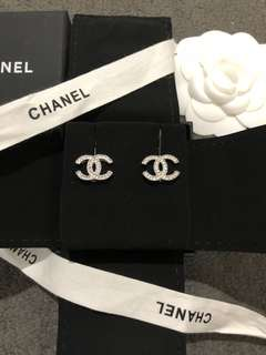 Chanel Silver Classic CC Crystal Rhinestone Earrings A42175 NEW!! Authentic!!
