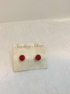 Red ball earrings