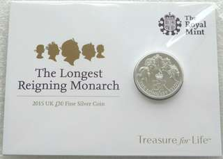2015 Longest Reigning Monarch £20 Twenty Pound Silver Coin Mint Pack