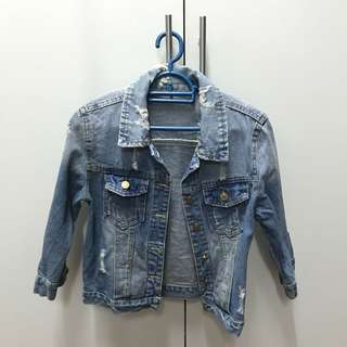 Denim 3 quarter sleeve jacket
