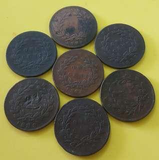SARAWAK COINS  1 CENT - 7 PCS