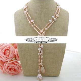 Lustrous Genuine Pink Pearls Long Necklace . 光亮真粉紅色珍珠長項鍊
