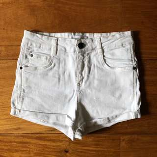 MNG White Denim Shorts