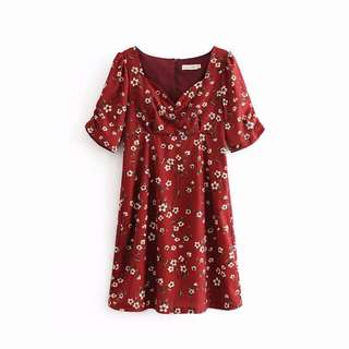 🔥2018 Slim Vintage Floral V neck Short Sleeve Dress Red Dress