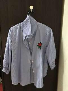 Work-Blue Striped Blouse