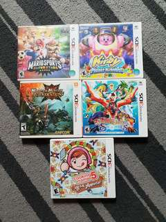 Nintendo 3ds games/ Mario sports superstars/ Kirby planet robobot/ mh generations/mh stories/ cooking mama 5