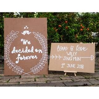 Custom-made hand painted Wedding Signage