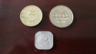 Sri Lanka Rupee vintage currency coin set (3 pcs)斯里兰卡币