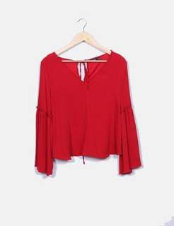 Bershka Red Top with Flared Bell Sleeves