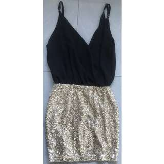 Angela Baby Woman's Black with Gold Sequin Dress Size 6 - Excellent Condition