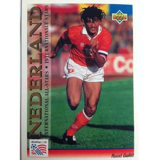 Ruud Gullit (Netherlands) - Soccer Football Card #120 (International All-Stars) - 1993 Upper Deck World Cup USA '94 Preview Contenders