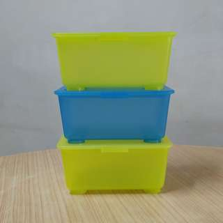 IKEA GLIS Storage Boxes with lid, light green, blue,17x10 cm