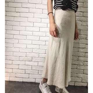 🚚 Starmimi麻料A字裙Size S