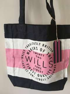 Jack Wills Tote Bag 布袋 粉紅藍白間