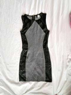 H&M Bodycon Dress with Leather Accent