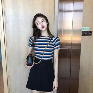 #606 Basic Knitted Stripe Coloured Top (PO)