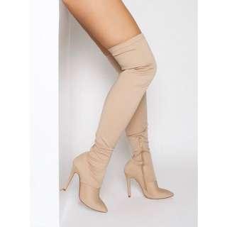 BRAND NEW beige thigh high boots (SIZE AU 8)