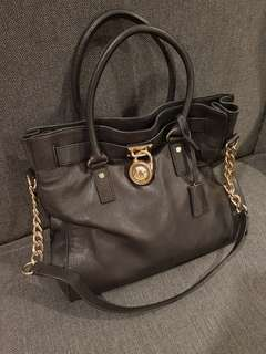 Michael Kors Black MK Hamilton leather satchel bag(Size large)