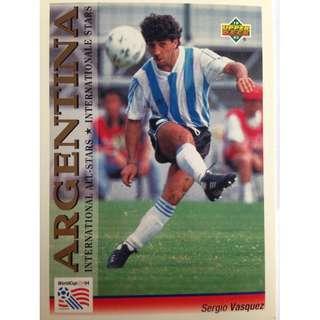 Sergio Vasquez (Argentina) - Soccer Football Card #114 (International All-Stars) - 1993 Upper Deck World Cup USA '94 Preview Contenders