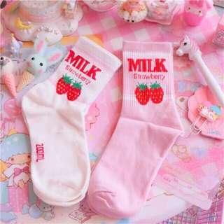 korean iconic strawberry milk series mid cut socks
